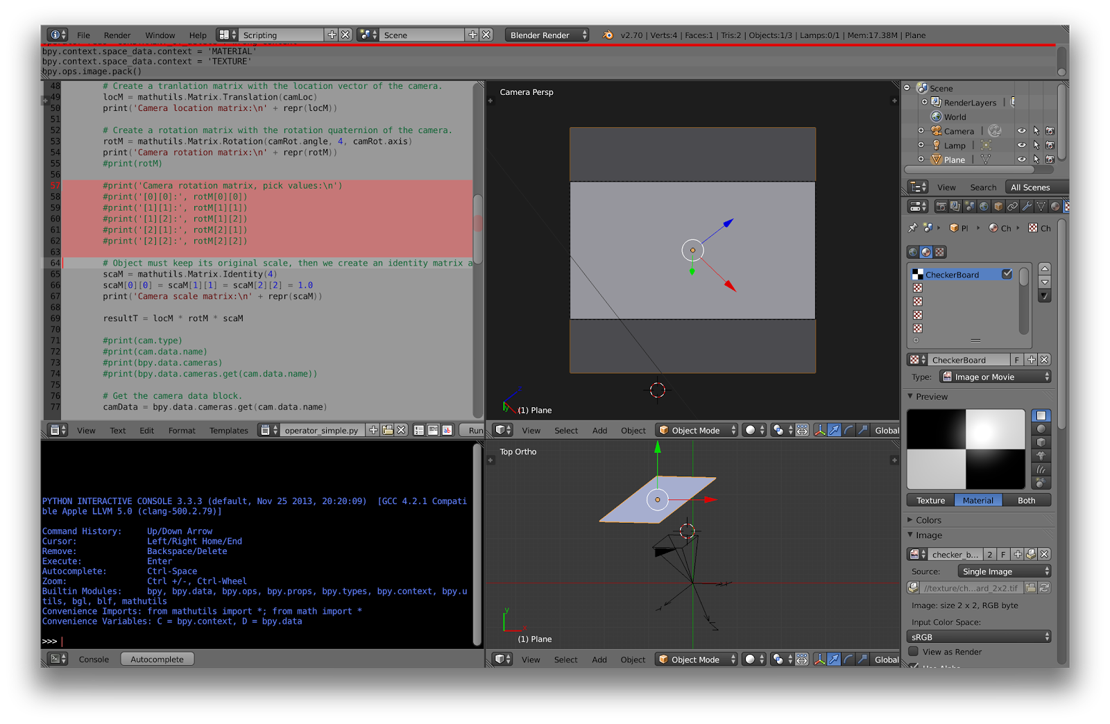 Blender Python script: how to position a plane to apparently fit